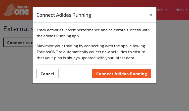 Screenshot illustrated connect adidas running to TrainAsONE from within the TrainAsONE application