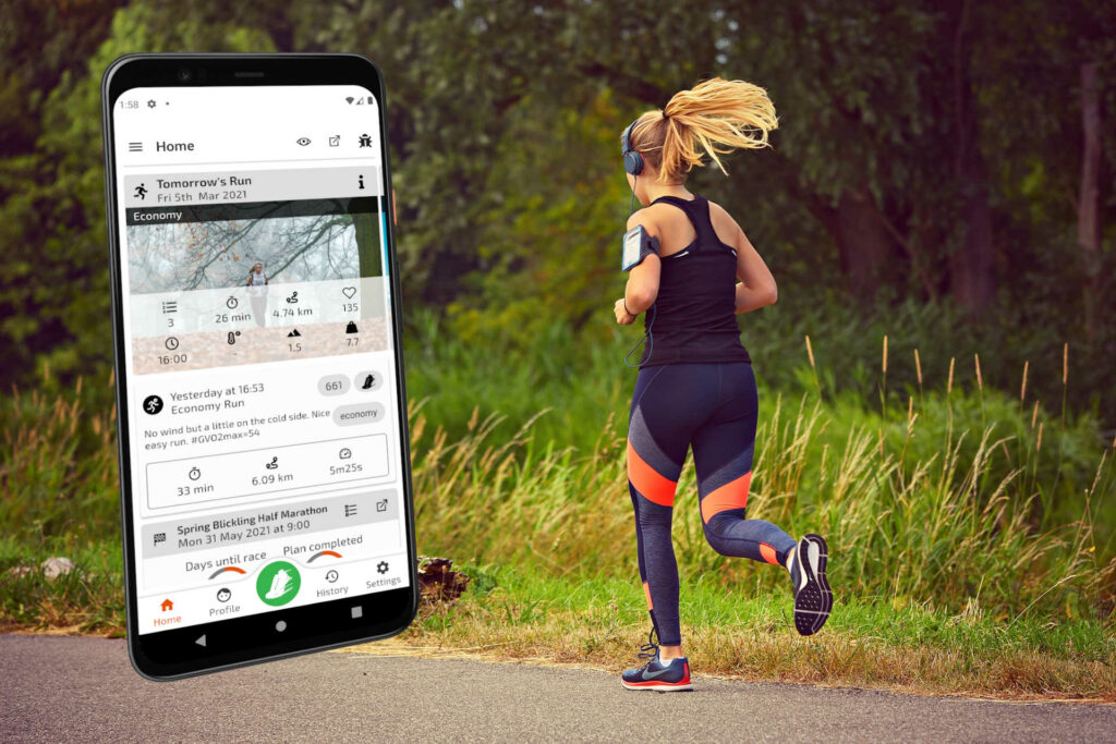 Screenshot of TrainAsONE mobile couch to 5k app on a backdrop of a woman running