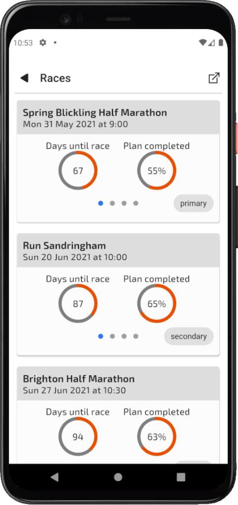 TrainAsONE mobile couch to 5k app Races screen