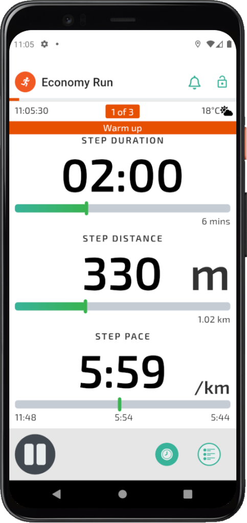 TrainAsONE mobile couch to 5k app Workout Guidance screen